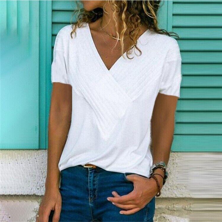 Object Damen T-Shirt Kurzarm Basic Shirt V-Neck Stretch Casual Color Mix SALE /%