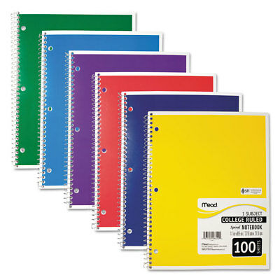 Mead Spiral Bound Notebook Perforated College Rule 11 X 8 12 White 100 Sheets