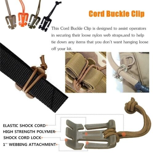 2-4Military MOLLE Webbing Elastic Cord Cable Storage Hang Buckle Roll Wire·Clip、