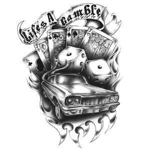 Urban Realistic Temporary Tattoo, Life's A Gamble, Made in USA, Big Tattoos