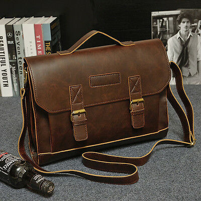 Mens Leather Messenger Shoulder Bags Business Work Briefcase Laptop Bag Handbag
