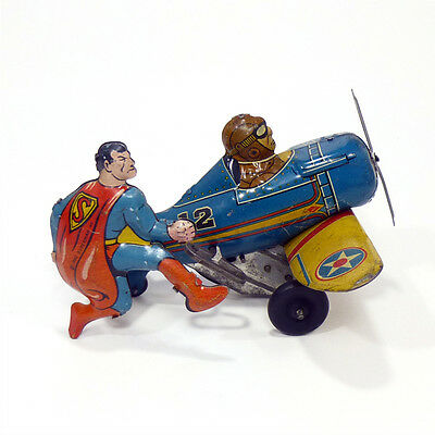 1940 SUPERMAN ROLLOVER PLANE Wind-Up Tin Toy MARX Rare!