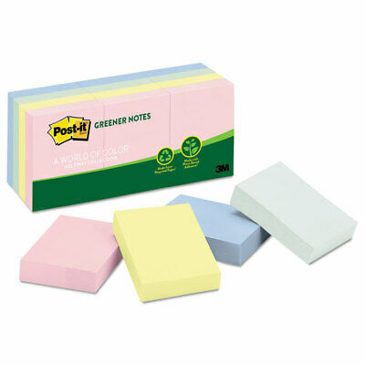 Post-it Recycled Note Pads 1 12 X 2 Assorted Helsinki Colors 100-sheet 12pack