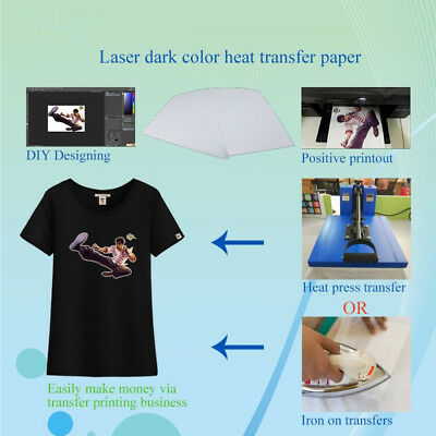 5 Sheets A4 T-shirt Iron On Inkjet Heat Transfer Paper For Dark Color Fabrics