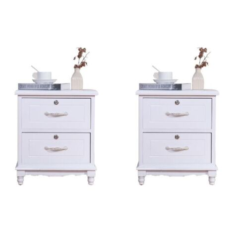 Set of 2 Elegant Nightstand W/2 Locking Drawer End Table Bedside Cabinet White