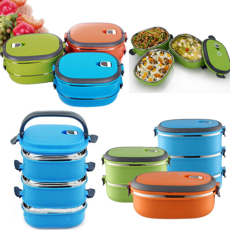 new thermal insulated bento stainless steel food container lunch box 1 2 3 layer ebay. Black Bedroom Furniture Sets. Home Design Ideas
