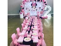 Kids Table and Chair hire Princess Mickey Jungle theme Party - Soft Play Bouncy Castle Balloon Arch