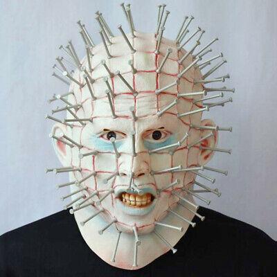 Pin Head Mask (horror film Hellraiser latex Pinhead mask thriller full head Pin Helmet Cosplay)