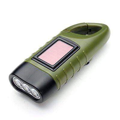 Simpeak LED Taschenlampe Handkurbel Solar Dynamo Karabiner wiederaufladbare Grün