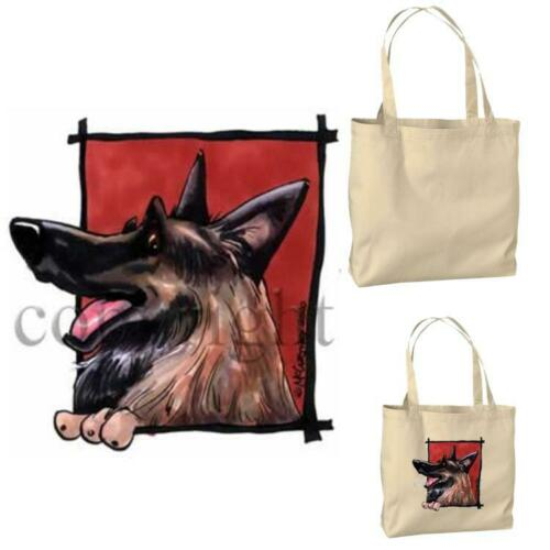 Belgian Tervuren Dog Happy Face Cartoon Artist Canvas Market Grocery Tote Bag