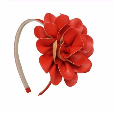 Fake Flowers For Headbands (High Quality Red Headband Hairbands faux Leather Big 4 inch Flower For Kids)