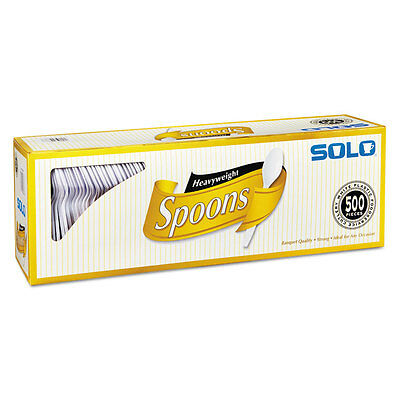 SOLO CUPS Heavyweight Plastic Cutlery, Spoons, White, 6 in, 500/Carton 827272