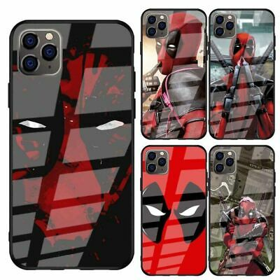 Deadpool Marvel Dead Pool Tempered Glass Case for iPhone 11 Pro Xr X XS Max 7 8