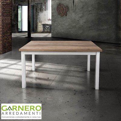 Tavolo allungabile ALFRED 130cm metallo verniciato bianco rovere sala da pranzo