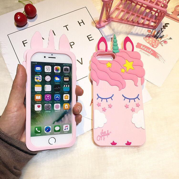 Pink Silicone Unicorn iPhone 7 Case