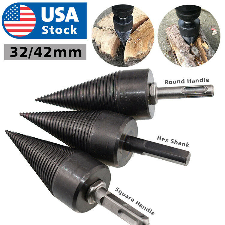 High Speed Twist Firewood Drill Bit Wood Splitter Screw Splitting Cone Driver US Home & Garden