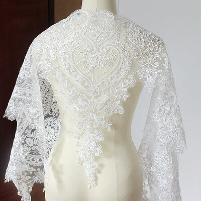 Floral Lace Material Sequin Embroidery for Bridal Veil Dress Trim Edge by Yard