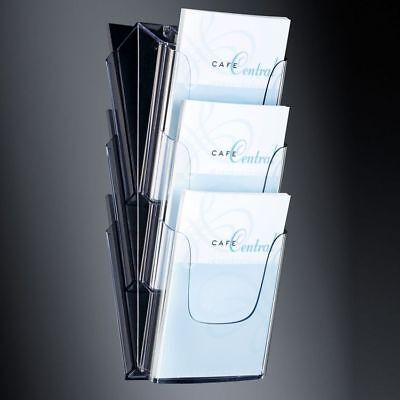 Sigel Modisch Wand-Prospekthalter acrylic, mit 3 Fächern, glasklar, für A4