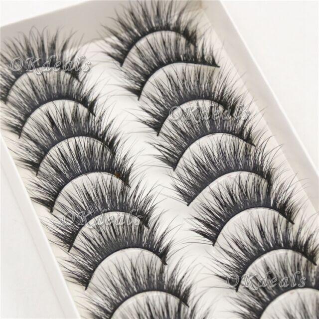 New 10Pairs Beauty Long Natural Makeup Black Handmade Thick Fake False Eyelashes
