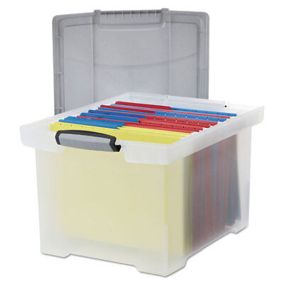 Storex Portable File Tote Wlocking Handle Storage Box Letterlegal Clear