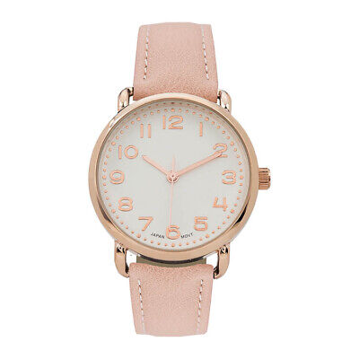 Geneva Womens Rose Gold Tone Stainless Steel Fraux Leather Watch 15185