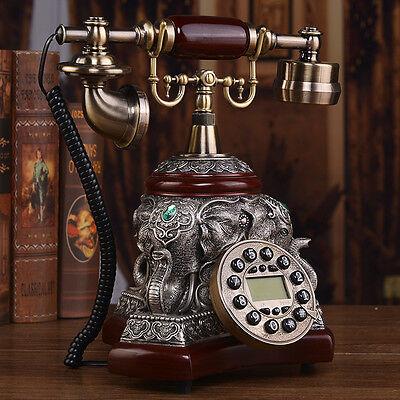 Wood metal elephant European Luxury Antique phone Vintage corded telephone F046