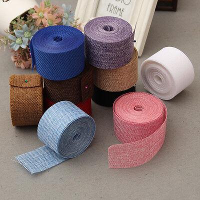 Hessian Burlap Ribbon Lace Trims Jute Tape DIY Craft Wedding Party Decoration - Burlap Lace Ribbon