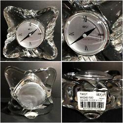 BEAUTIFUL Mikasa Crystal Quartz Clock TWIST Pattern *FAST SHIPPING*