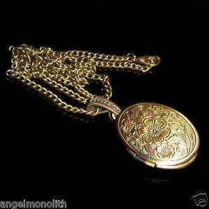 Ovales Biedermeier Medallion & Kette 2 Fotos Medaillon Antik Amulett Anhänger