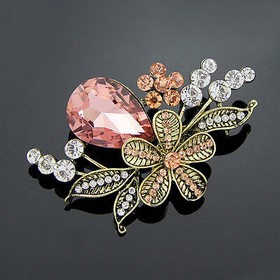 Women Vintage Pink Glass Rhinestone Wedding Flower Bouquet Brooch Pin Fashion