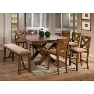 Colorado counter height table with 4 chairs and a bench, NEW
