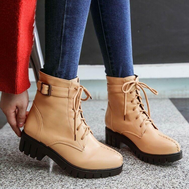 Military Womens Lace Up Buckle Strap Gothic Low Heels Oxfords Ankle Boots Shoes