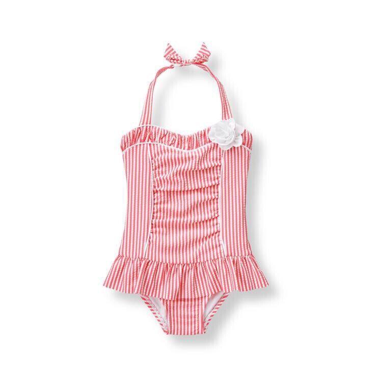 Janie And Jack 6-12 Months Seersucker One Piece Swimsuit Swim Pink White Stripes