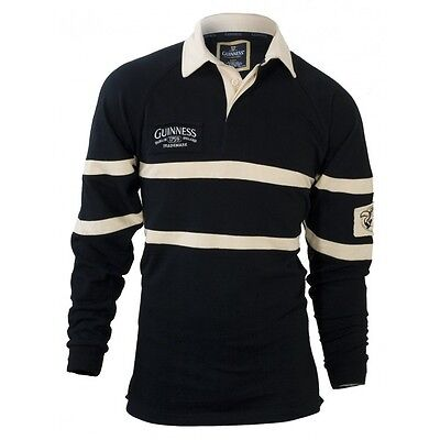 Guinness Black & Cream long-sleeve Authentic Rugby Jersey Shirt - New with Tags