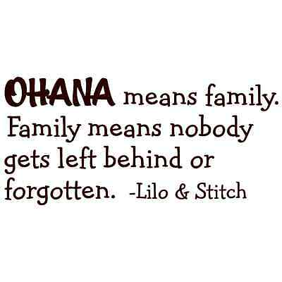 Lilo And Stitch Decorations (OHANA MEANS FAMILY DISNEY LILO AND STITCH Quote Vinyl Wall Decal Decor)