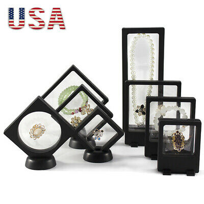 Clear Floating Display Case Stand Holder Box for Jewelry Suspended Coins SES