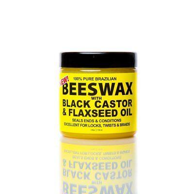 [ECO STYLER] BLACK CASTOR&FLAXSEED OIL 100% PURE BRAZILIAN BEES WAX 4OZ