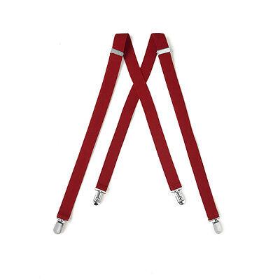 New Mens Scarlet Red Clips On Suspenders Formal Prom Wedding Groom Suspender