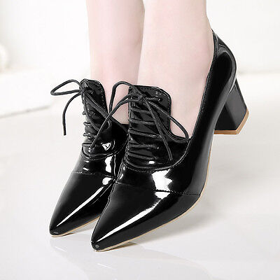 Chunky Patent Leather Heels (Sweet Women's Patent Leather Chunky Oxfords Mid Heels Pointed Toe Lace Up Shoes )