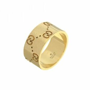 Gucci Size 8 18K Yellow Gold Monogram Ring