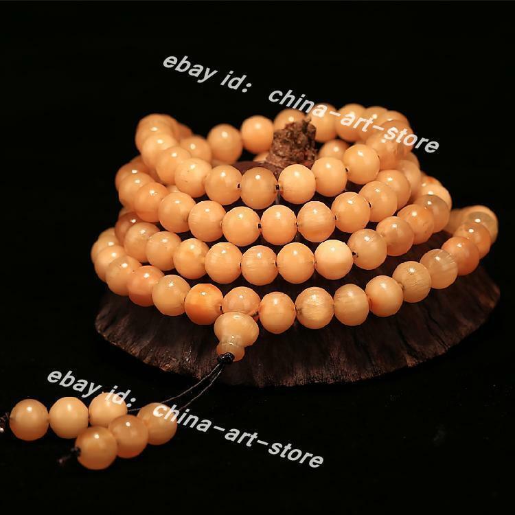 Tibetan Natural Yak Horn HandGrinding108PCS Buddha Beads/Round Bead Bracelet牛角手链