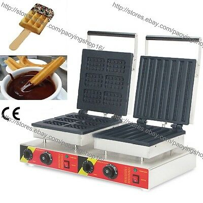 Commercial Nonstick Electric Dual Waffle Maker Waffle Stick Baker Churro Machine