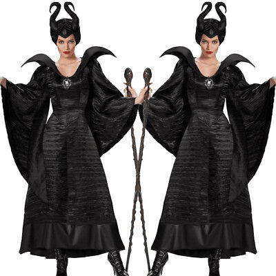 Adult Maleficent Deluxe Evil Queen Cosplay Costume Outfit Ladies Fancy Dress - Maleficent'deluxe Adult Kostüm