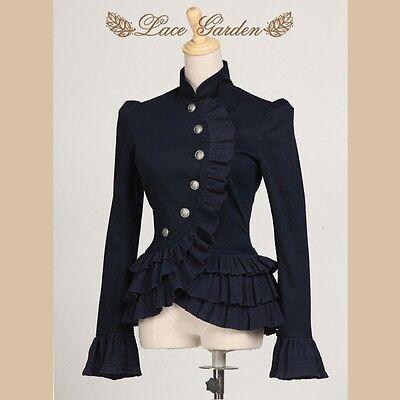 Viktorianische dunkel blau Gothic Jacke Blazer Steampunk Punk-Falbala Kostüm