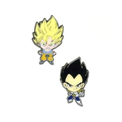 Dragon Ball Z Super Saiyan Goku & Vegeta 2 pack Dbz Enamel Pin Set AUTHENTIC
