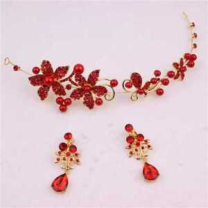 Beatiful Jewellery set flowers in red and gold