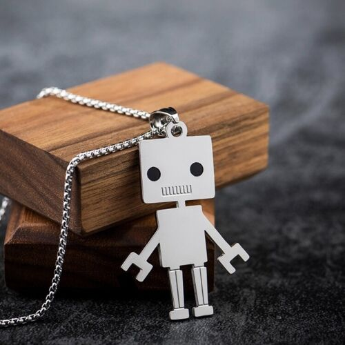 Stainless Steel 3D Silver Android Robot Pendant Creative Necklace Men Women Kids