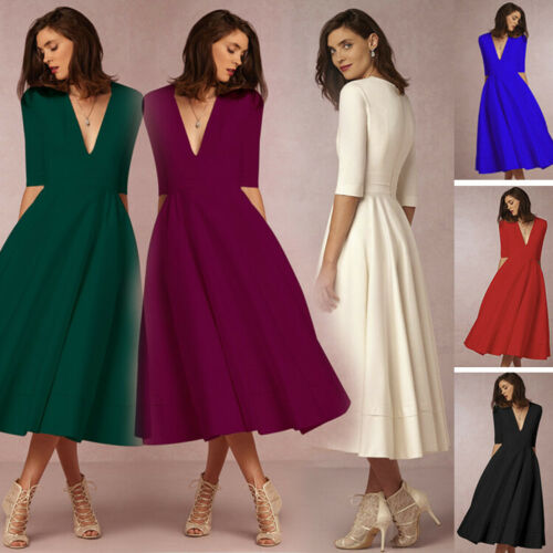 Details about Vintage Retro Style Rockabilly Dresses 50s 60s Swing Dress  Plus Size Pinup Party