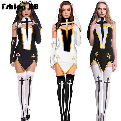 Sexy Nun Costume Adult Women Cosplay With Stockings Hoodie For Halloween Costume - Halloween Costume Nun