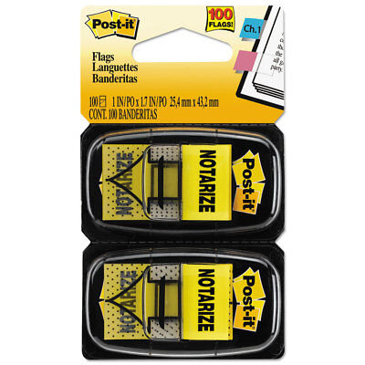 """Post-it Arrow Message 1"""" Page Flags """"Notarize """" Yellow 2 50-Flag Dispensers/Pack"""